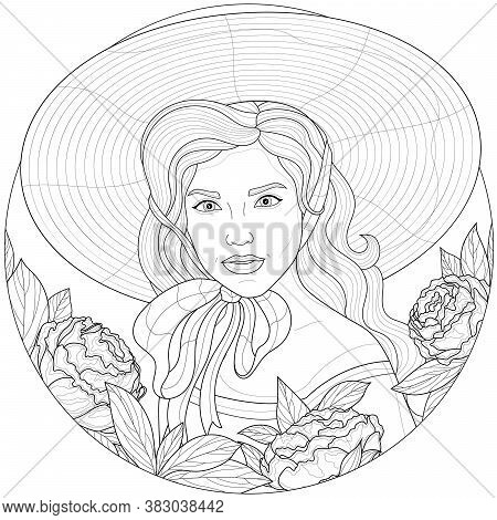 Girl In A Hat And Around Peonies.coloring Book Antistress For Children And Adults. Illustration Isol