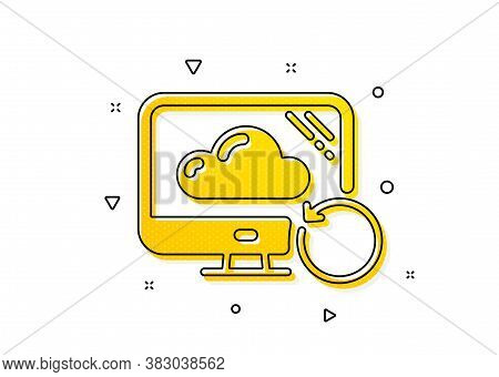 Backup Data Sign. Recovery Cloud Icon. Restore Information Symbol. Yellow Circles Pattern. Classic R