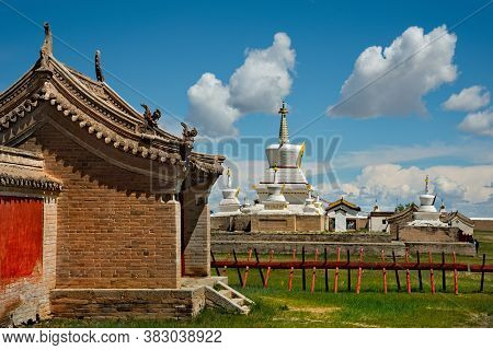 Harhorin. Mongolia. June 07, 2015. Exterior Of The Erdene-zuu Monastery Is The First And The Largest