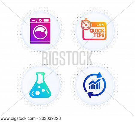 Chemistry Lab, Quick Tips And Washing Machine Icons Simple Set. Button With Halftone Dots. Update Da