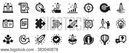 Launch Project, Business Report, Target Icons. Startup Icons. Strategy, Development Plan, Startup Sp
