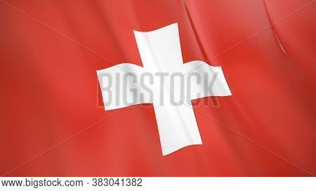 The Waving Flag Of Switzerland . High Quality 3d Illustration. Perfect For News, Reportage, Events.