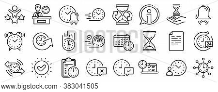 Set Of Calendar, Time Management Timer And Delivery Service Linear Icons. Time Line Icons. Checklist