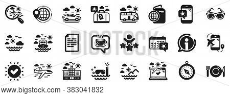 Passport, Luggage, Check In Airport Icons. Travel Icons. Airplane Flight, Sunglasses, Hotel Building