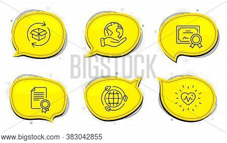 Heartbeat Sign. Diploma Certificate, Save Planet Chat Bubbles. Certificate, Eco Energy And Return Pa