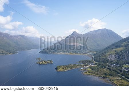 Loch Leven Aerial View Showing Pap Of Glencoe Scotland