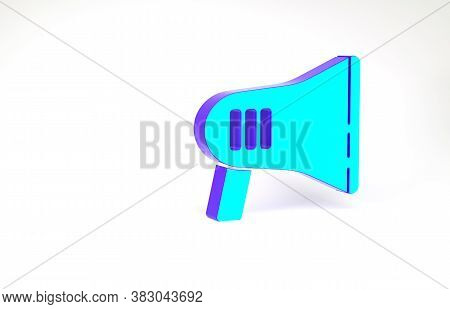 Turquoise Megaphone Icon Isolated On White Background. Loud Speach Alert Concept. Bullhorn For Mouth