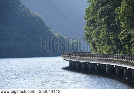 Cruachan Viaduct Road Bend Over Water At Loch Awe