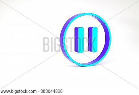 Turquoise Pause Button Icon Isolated On White Background. Minimalism Concept. 3d Illustration 3d Ren