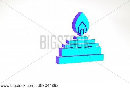 Turquoise Alcohol Or Spirit Burner Icon Isolated On White Background. Chemical Equipment. Minimalism