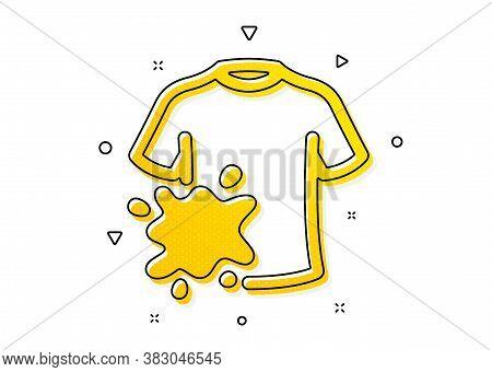 Laundry Shirt Sign. Dirty T-shirt Icon. Clothing Cleaner Symbol. Yellow Circles Pattern. Classic Dir