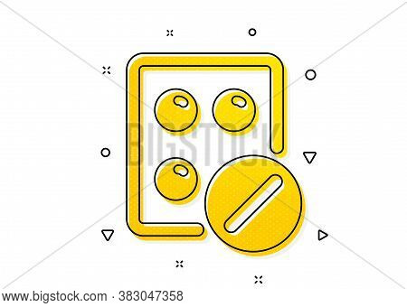 Medicine Drugs Sign. Medical Tablet Icon. Pharmacy Medication Symbol. Yellow Circles Pattern. Classi