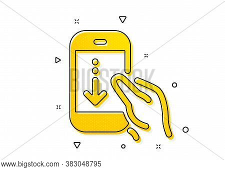 Scrolling Screen Sign. Scroll Down Phone Icon. Swipe Page. Yellow Circles Pattern. Classic Scroll Do