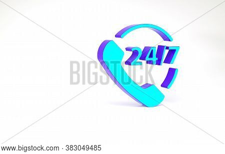 Turquoise Telephone 24 Hours Support Icon Isolated On White Background. All-day Customer Support Cal