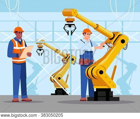 Robotics Expert Flat Vector Illustration. Industrial Maintenance. Factory Equipment. Man Repairing A