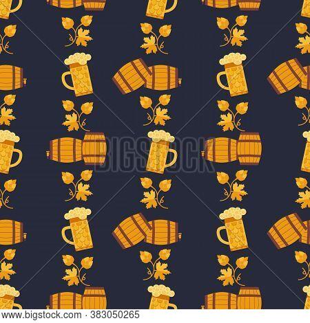 Flat Craft Beer Fest Vector Seamless Pattern. Alcoholic Drink Decorative Pattern. Bar Pub Brew Drink