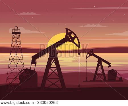 Oil Drilling Station Semi Flat Vector Illustration. Gas Industry Factory Technology. Well Pumps And