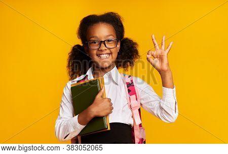 Smiling Black Schoolgirl Gesturing Okay Sign Holding School Books Standing On Yellow Background. Stu