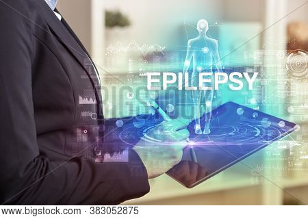 Electronic medical record with EPILEPSY inscription, Medical technology concept