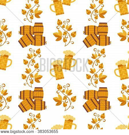 Flat Beer Fest Party Vector Seamless Pattern. Alcoholic Drink Decorative Pattern. Bar Pub Brew Drink