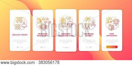 Biohacking Techniques Onboarding Mobile App Page Screen With Concepts. Healthy Lifestyle. Abundance