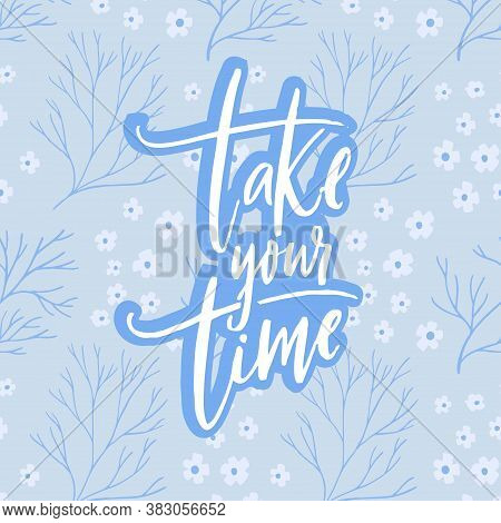 Take Your Time. Motivational Quote About Calming Down, Self Care. White Script Calligraphy Inscripti