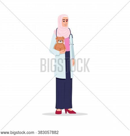 Pediatrician Semi Flat Rgb Color Vector Illustration. Medical Personnel. Children Care Doctor. Young