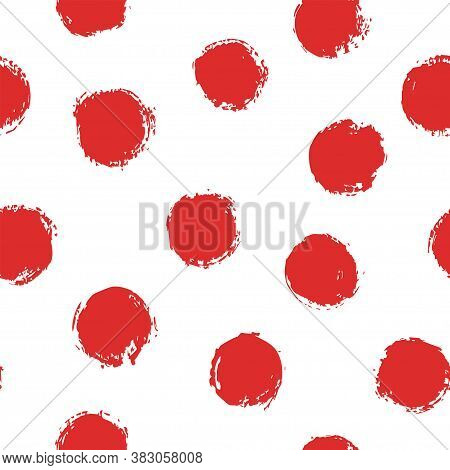 Seamless Polka Dots Pattern With Brush Strokes. Cute Design For Fabric, Wrapping, Stationary, Wallpa