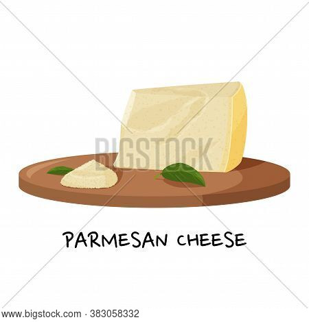 Piece Of Parmesan Cheese And A Small Pile Of Grated Cheese On A Wooden Tray. Realistic Vector Illust