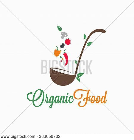 Organic Food Logo. Ladle With Vegetables On White