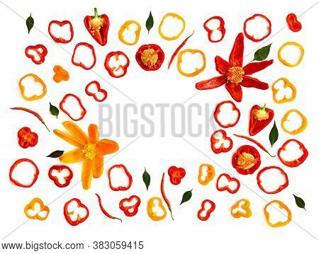 Red, Orange Yellow Bell Peppers (capsicum Annuum) And Red Chili Pepper (capsicum Frutescens) With Gr