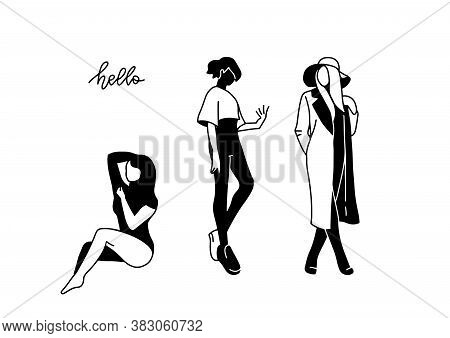 Set Of Beautiful Female Sitting And Staying Silhouettes. Abstract Hand Drawn Illustration Concept Fo