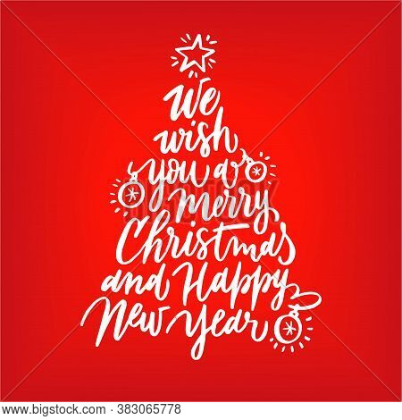 Beautiful Christmas Tree Lettering Card. Christmas Party Lettering. Xmas Design Element. Invitation