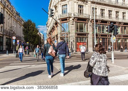 Budapest, Hungary. October 2019: Tourists And Visitors On Central Street In Budapest, Hungary