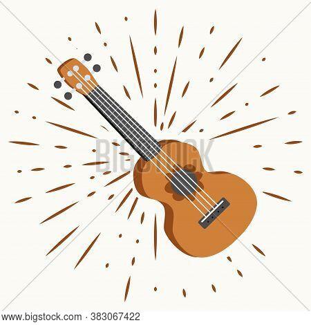 Ukulele Four-string Guitar. Hawaiian Tropical Exotic Handmade Design. Summer, Sun, Splashes, Vintage