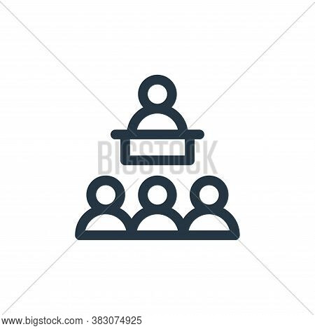 conference icon isolated on white background from business administration collection. conference ico