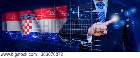 Businessman Touching Data Analytics Process System With Kpi Financial Charts, Dashboard Of Stock And