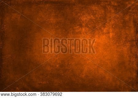 Texture For Artwork And Photography. Abstract Burnt Orange Stained Paper Texture Background Or Backd