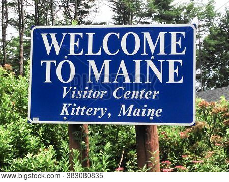 KITTERY, MAINE, USA - JULY 6, 2013: Welcome to Maine sign in visitor center