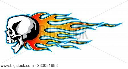 Vector Burning Dice With Classic Tribal Flames Isolated On White Background.