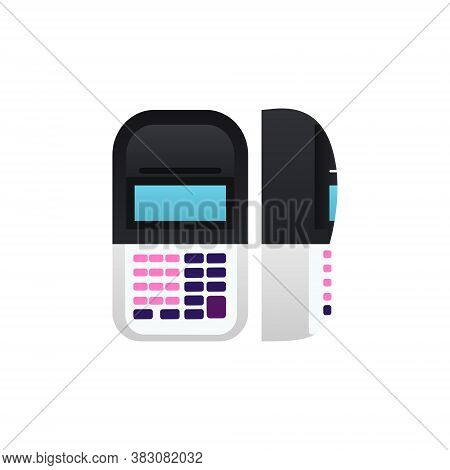 POS terminal Isolated vector icon in flat design Transaction terminal for paying for services using a card, phone and contactless payment in front and side view