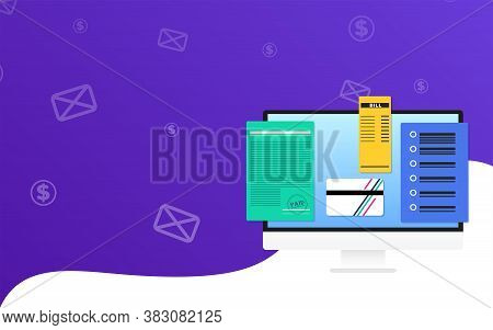 Online bookkeeping Vector illustration with copy space Desktop computer with online payment and transaction documents on wavy two-tone background with pattern