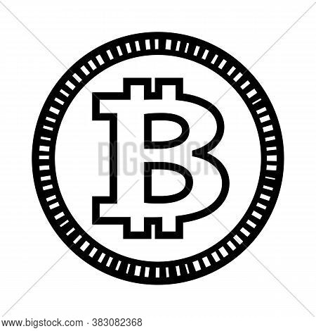 Bitcoin Vector Illustration Isolated On White Background. Ideal For Logo Design, Sticker, Decal And