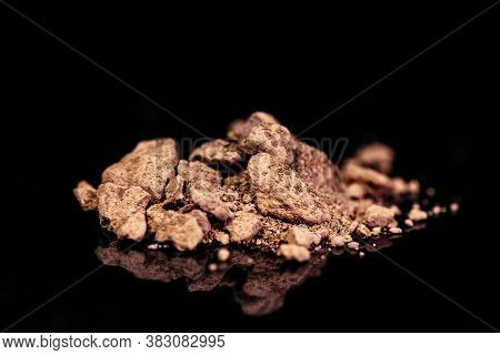 Bauxite Ore, Raw Rocks On Black Background, Mining And Geology, Mineralogy