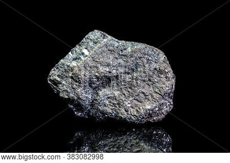 Bleiglanz, Galena Or Galenite Ore, Raw Rock On Black Background, Mining And Geology, Mineralogy