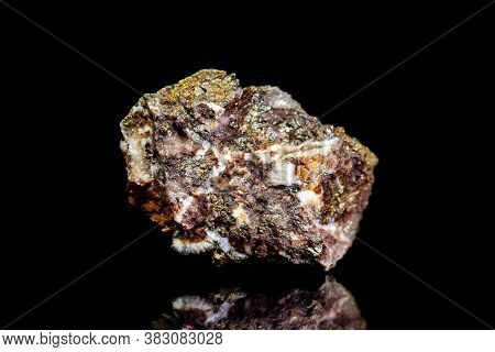 Chalcopyrite Copper Ore, Raw Rock On Black Background, Mining And Geology, Mineralogy
