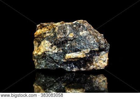 Sphalerite Zinc Blende Ore, Raw Rock On Black Background, Mining And Geology, Mineralogy