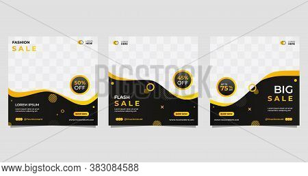 Set Of Social Media Posts Discount Template, With Memphis Design And Wave Shapes Composition. Web Ba