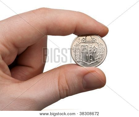 Holding A 10 Nt Dollar Coin