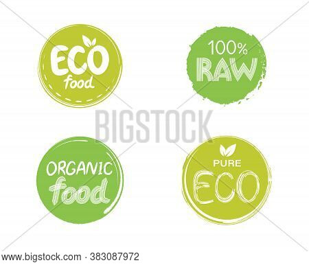 Emblem, Sign For Packages, Natural Products And Health Food Stores. Vegan, Raw, Healthy Food Badges,